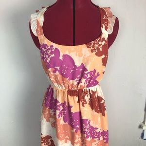 Elle | orange floral sleeveless dress size small